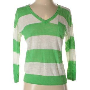 Nordstrom | green & white striped sweater